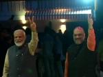 VIDEO: जीत के बाद सीधे BJP दफ्तर पहुंचे मोदी-शाह, कार्यकर्ताओं ने बरसाए गुलाब के फूल