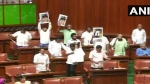 कर्नाटक में नाटक जारी: स्ट्रेचर पर लेटे विधायक की तस्वीर दिखाकर शिवकुमार ने स्पीकर से की सुरक्षा की मांग
