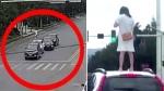 VIDEO: हाईवे पर कार में हुई लड़ाई तो नाराज पत्नी ने छत पर चढ़ मचाया हंगामा, बढ़ गई पति की मुश्किलें