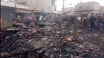 अलवर के भिवाड़ी की सब्जी मंडी में दुकानों में लगी आग, दुकानदार बोले-'यह साजिश है'
