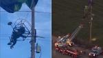 क्रैश का शिकार होकर बिजली के तारों में टंगा पैराग्लाइडर, क्रेन से उतारा गया, वीडियो वायरल