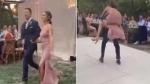 VIDEO: शादी की खुशी में पगलाया दूल्हा, पीठ पर दुल्हन को उठाकर भागा तो हुआ ये हश्र