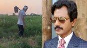 अपने गांव में फावड़ा लेकर खेत में काम करते नजर आए नवाजुद्दीन सिद्दीकी, देखें VIDEO