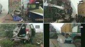 ग्रेटर नोएडा: यमुना एक्सप्रेस वे पर आपस में टकराए कई वाहन, कई लोग हुए जख्मी