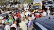 राजस्थान: अलवर में राकेश टिकैत की कार पर हमला, गाड़ी का शीशा टूटा