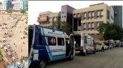 अहमदाबाद के बाद राजकोट सिविल अस्पताल के बाहर भी कोरोना मरीजों से भरी एंबुलेंस की कतार लगीं