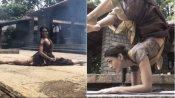डांसर रुक्मिणी विजयकुमार ने साड़ी पहनकर दिखाए हैरतंगेज करतब, वीडियो हुआ वायरल