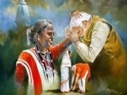झारखंडी मां से आशीर्वाद लेते पीएम नरेंद्र मोदी की पेंटिंग देखी है आपने
