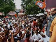 लखनऊ पहुंचे अमित शाह के स्वागत में भाव-भिवोर हुए BJP कार्यकर्ता