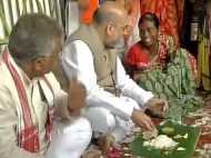नक्सलबाड़ी इलाके में बीजेपी के राष्ट्रीय अध्यक्ष अमित शाह, आदिवासी के घर में खाया खाना
