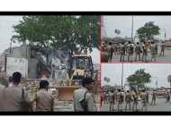 VIDEO: भारी पुलिस बल की मौजूदगी में तोड़ा गया नोएडा का पुराना शनि मन्दिर