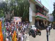 कांग्रेस के दफ्तर को सांप सूंघा, बीजेपी में हर जगह भगवा जश्न