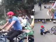 VIDEO: साइकिल चलाने निकले तेजप्रताप के साथ हुआ हादसा, बीच सड़क गिरे धड़ाम