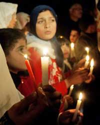 Palestinians at a candlelight march