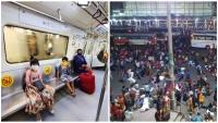 DelhiLockdown:कई मेट्रो स्टेशन बंद, प्रवासियों का पलायन जारी
