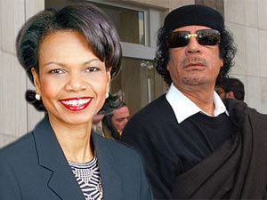 Former US Secretary of State Condoleezza Rice, Gaddafi