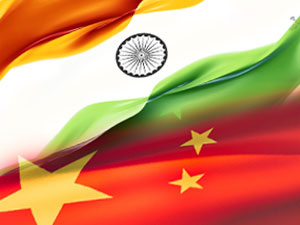 India's and China's Flag