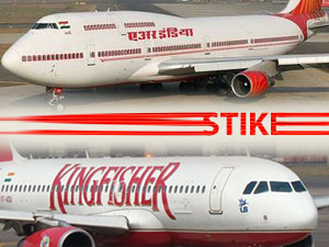 Air India Pilots Strike 4th Day Kingfisher Flaghts