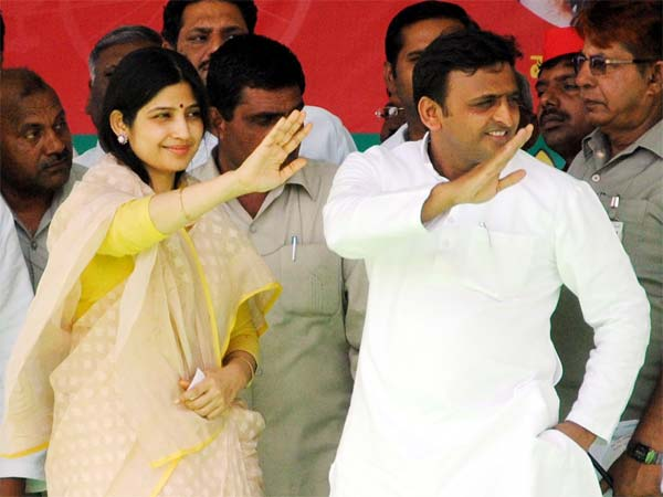 Akhilesh Yadav, with his wife Dimple Yadav, launched election campaign on his own