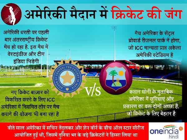 आज अमेरिका में मचेगी टी20 क्रिकेट की धूम, आमने-सामने होंगे भारत-वेस्टइंडीज