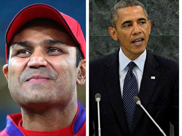 Virendra Sehwag wishes birthday to barck obama
