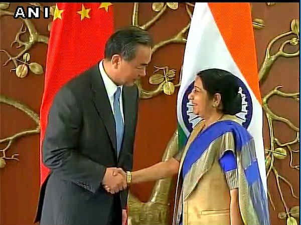 sushma swaraj and Chinese Foreign Minister Wang Yi