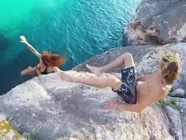 Man refuses to help girlfriend, lets her fall off cliff