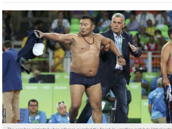 Mongolian wrestling coaches banned for stripping off in bizarre Olympics protest