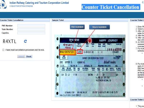 Counter ticket cancellation