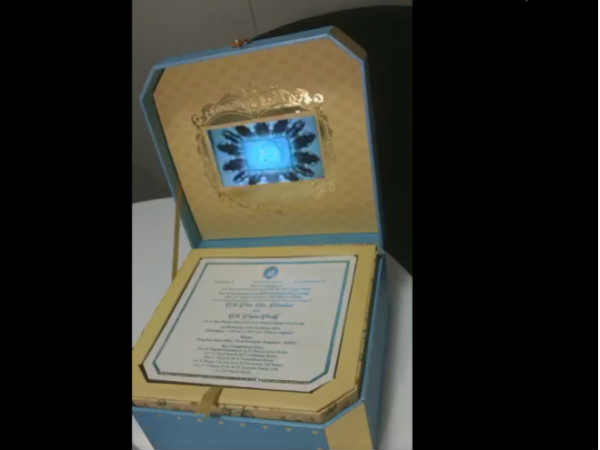 Gali Janardhan Reddy's daughter's wedding invitation comes in a box with auto-play LCD