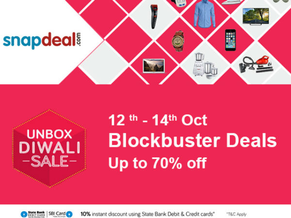 Snapdeal Unbox Diwali Sale! Blockbuster Deals Get Upto 90% Cashback on Products (Oct 12th -14th)