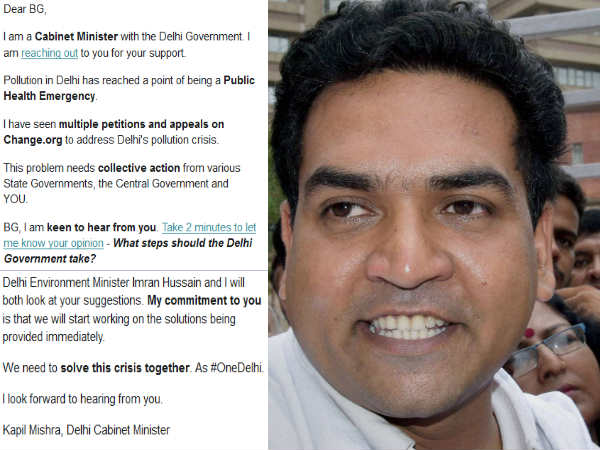 Minister Kapil Mishra to seek suggestions to tackle deadly air pollution