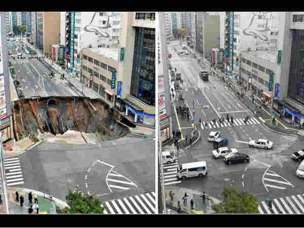 Japan fixes giant 30 metre wide city sinkhole