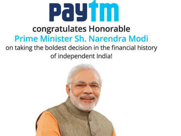 500 and 1000 note ban:Paytm puts Modi on ad after Reliance Jio