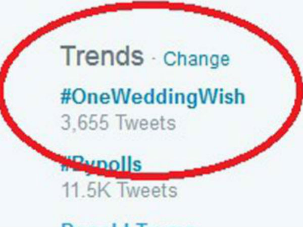 #OneWeddingWish is trending on Twitter why?: View popular tweets on