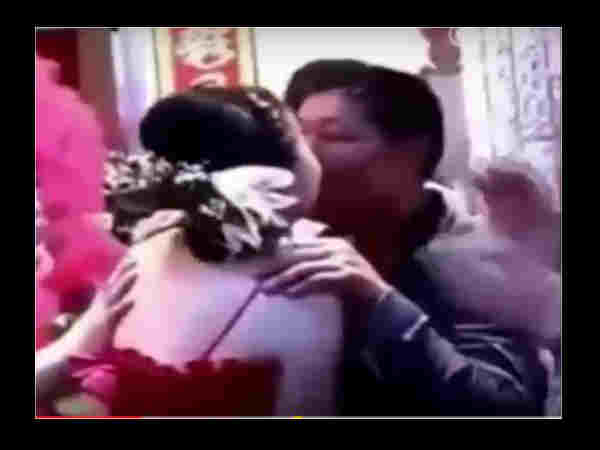 OMG! In son wedding father in law kisses her daughter in law publicly