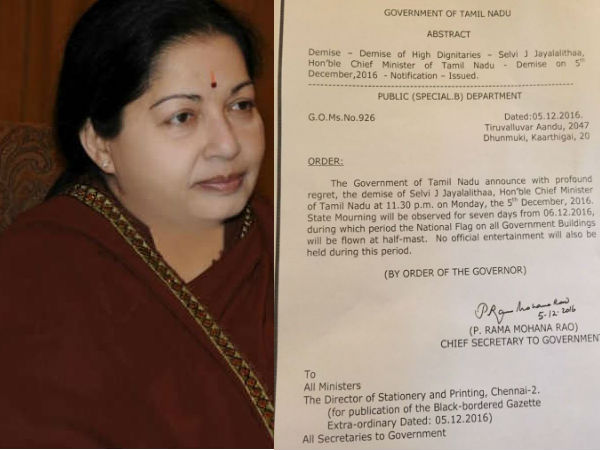 7 days state mourning announced over Jayalalithaa's death