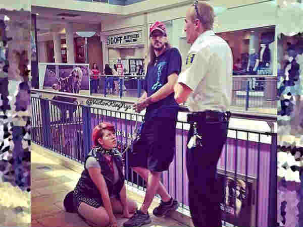 Boyfriend locked his girlfriend in dog leash, walked in mall, picture goes viral