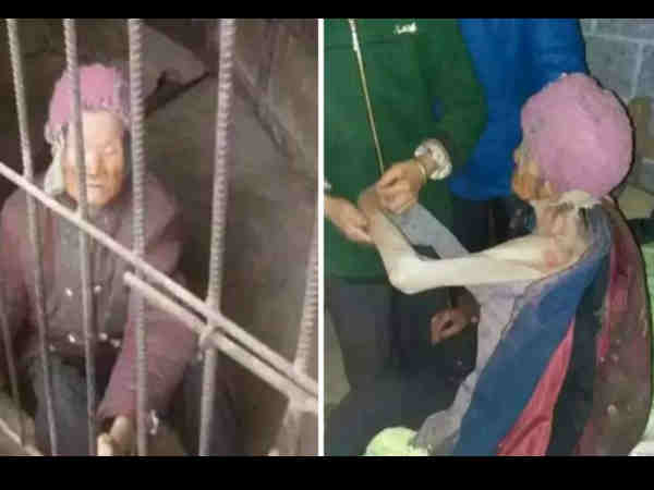China: Son forces 92-year-old mother to live in filthy cage for years
