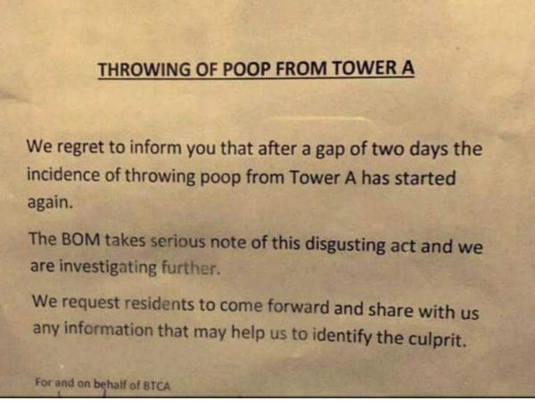 At this Gurugram apartment, someone through poop from the upper floor