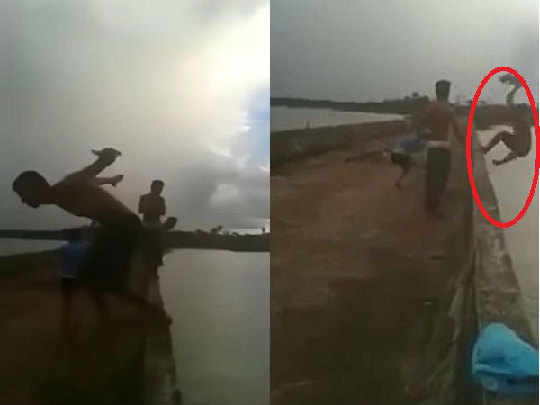 Girl push boy from the bridge fall to death, watch horrible video
