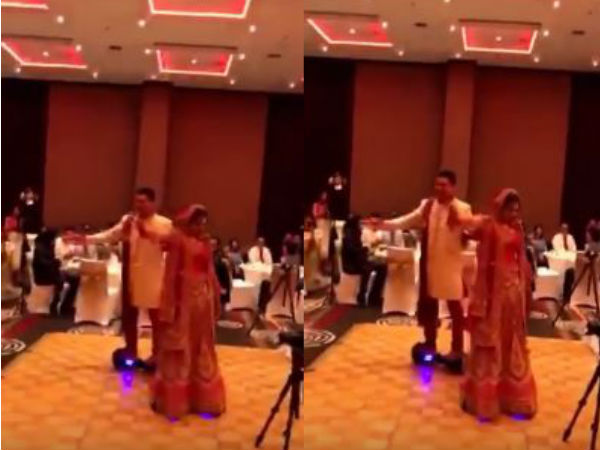 Video: when bride and groom enter in their wedding on hoverboard
