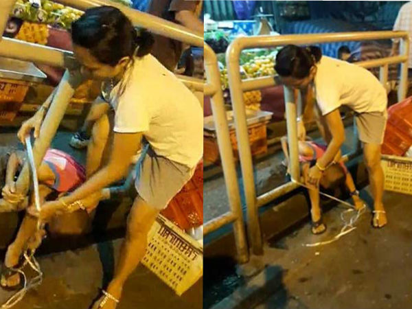 Video: mother tied her son to roadside railings with plastic cord as punishment