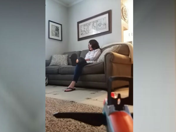 WATCH: Son fires toy gun at his mother, but her reaction is priceless