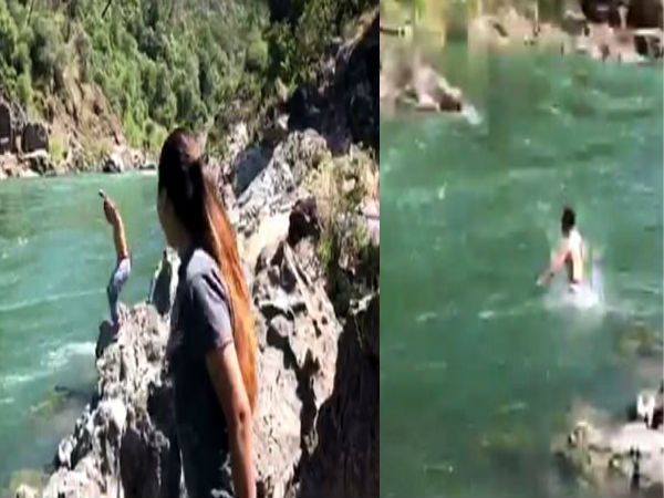 death live video:boyfriend drawn into a raging river and was swept away due to girlfriend challenge