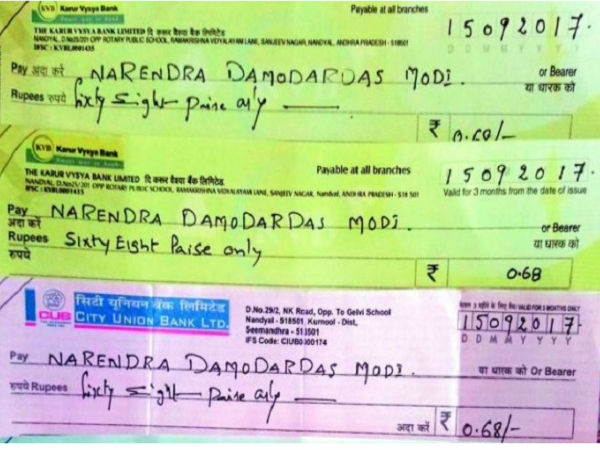 On PM Modi's birthday, Andhra NGO sends 68 paise cheques as gift to highlight neglect of Rayalaseema