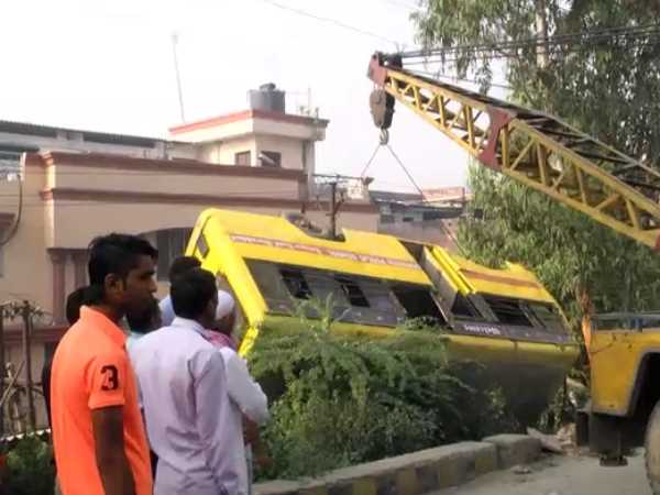 A school bus fell from bridge after driver lost control in Moradabad