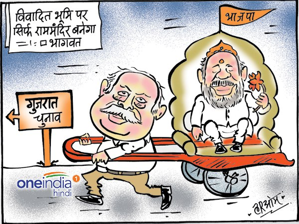 cartoon Gujarat elections and mohan bhagwat comment about ram mandir