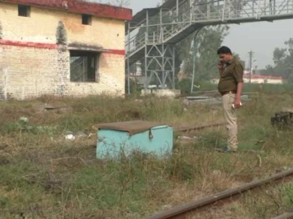 A box was beside railway line in Hapur, Uttar Pradesh.