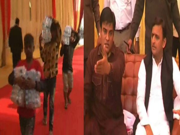 SP workers gets child labour in Akhilesh Yadav's presence